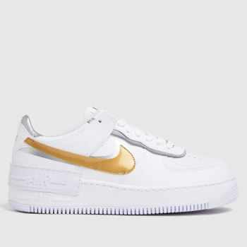 Nike White & Gold Air Force 1 Shadow Womens Trainers