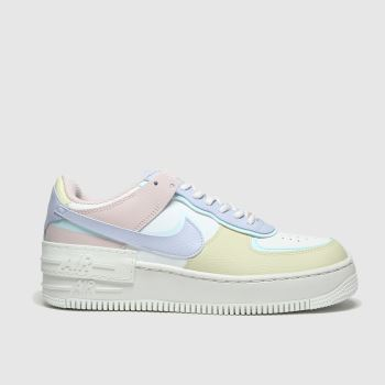 Nike White & Pink Air Force I Shadow Trainers