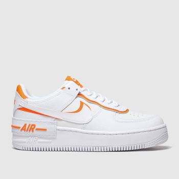 Nike White & Orange Af1 Shadow Trainers