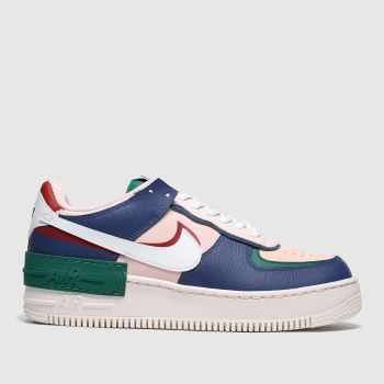 nike navy & green af1 shadow trainers