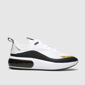 nike white & gold air max dia trainers