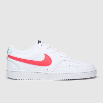 Nike White & Red Court Vision Womens Trainers