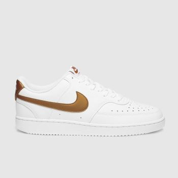 Nike White & Brown Court Vision Womens Trainers