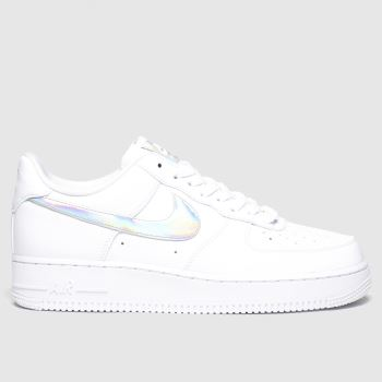 Nike White & Silver Air Force 1 Essential Trainers