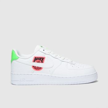 Nike White & Green Air Force 1 07 Womens Trainers