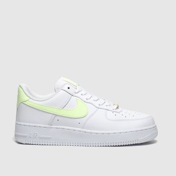 Nike White & Yellow Air Force 1 07 Womens Trainers