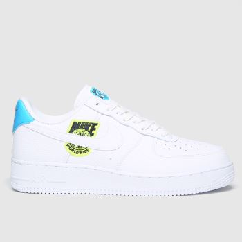 Nike White & Blue Air Force 1 07 Worldwide Trainers