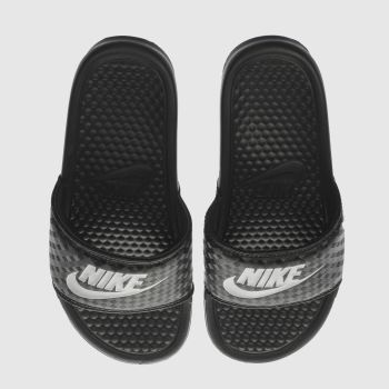NIKE BLACK & WHITE BENASSI POOL SLIDE SANDALS