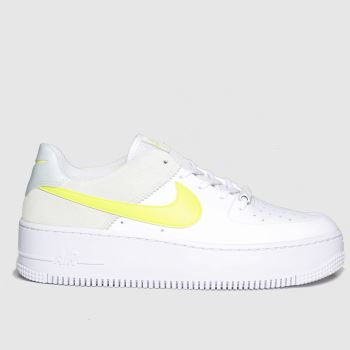 Nike White & Yellow Air Force 1 Sage Low Womens Trainers