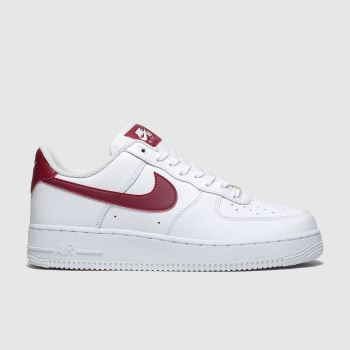Nike White & Red Air Force 1 07 Womens Trainers
