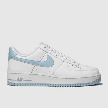 Nike White & Pl Blue Air Force 1 07 Womens Trainers