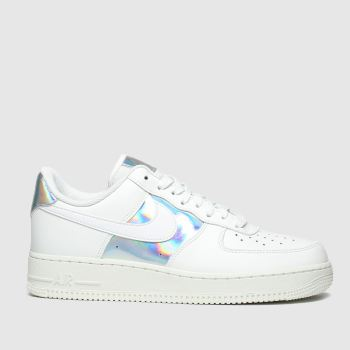 Nike White & Silver Air Force 1 07 Womens Trainers