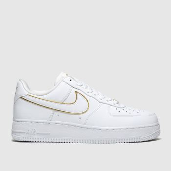 Nike White & Gold Air Force 1 07 Womens Trainers