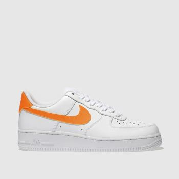 Nike White & Orange AIR FORCE 1 LOW Trainers
