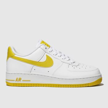 super popular 3913e a9805 Nike White   Yellow Air Force 1 07 Womens Trainers