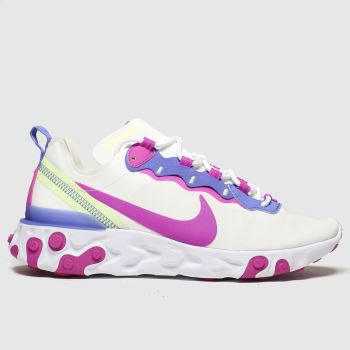 Nike White & Pink React Element 55 c2namevalue::Womens Trainers