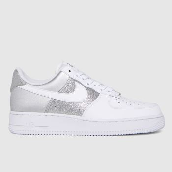 Nike White & Silver Air Force 1 '07 Womens Trainers