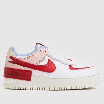 Nike Weiß-Rot Air Force 1 Shadow Damen Sneaker