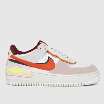 Nike White & Pink Air Force 1 Shadow Womens Trainers