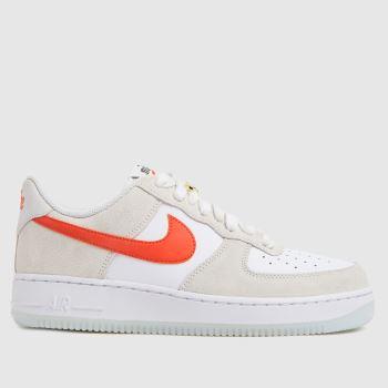Nike White & Orange Air Force 1 07 Se Womens Trainers