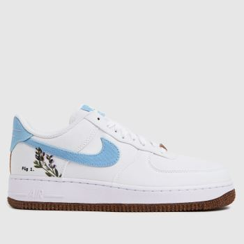 Nike White & Pl Blue Air Force 1 07 Se Womens Trainers