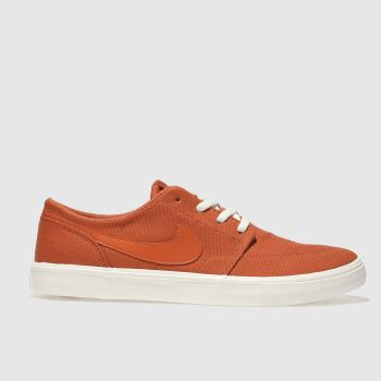 NIKE SB ORANGE PORTMORE II SOLARSOFT TRAINERS