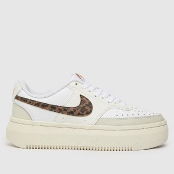 Nike White & Beige Court Vision Alta Womens Trainers