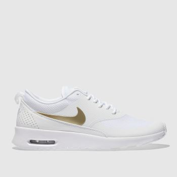 NIKE WHITE & GOLD AIR MAX THEA TRAINERS