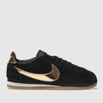 save off 29318 2aadc Nike Black  Gold Cortez Suede Womens Trainers