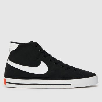 Nike Black & White Court Legacy Mid Canvas Womens Trainers