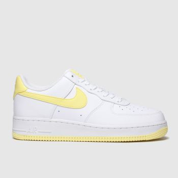 NIKE WHITE & YELLOW AIR FORCE 1 07 SE TRAINERS