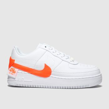 Nike White & Orange Air Force 1 Jester Womens Trainers from Schuh