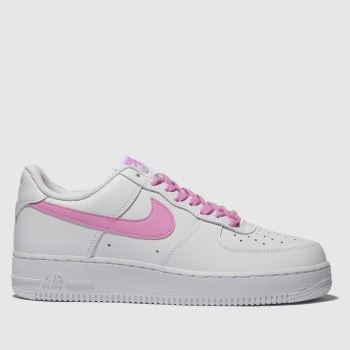 Nike White & Pink Air Force 1 07 Essential Womens Trainers