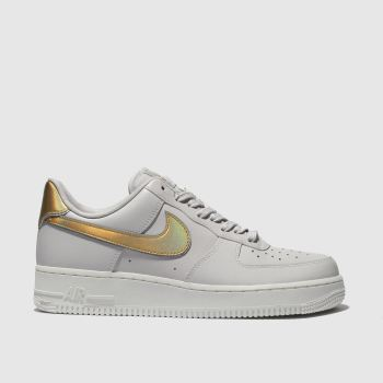 Nike Grey Air Force 1 07 Metallic Womens Trainers