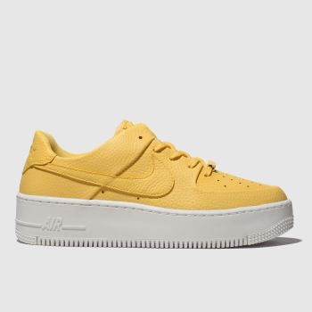 Nike Yellow Air Force 1 Sage Low Womens Trainers