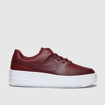Nike Red Air Force 1 Sage Low Womens Trainers