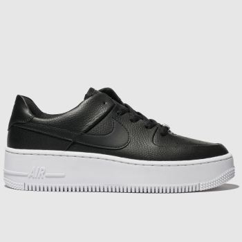 Nike Black & White Air Force 1 Sage Low c2namevalue::Womens Trainers