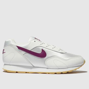 hot sale online 07293 a1dea Nike White   Burgundy Outburst Womens Trainers