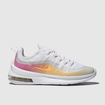 nike white & pink air max axis premium trainers
