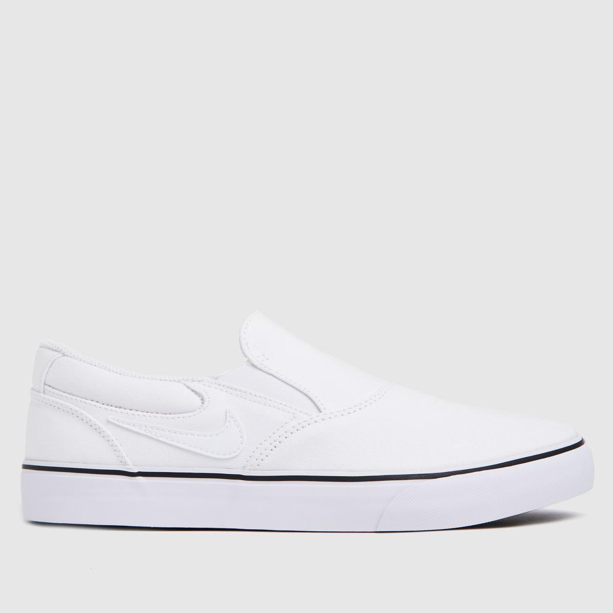 Nike SB White & Black Chron 2 Slip Trainers