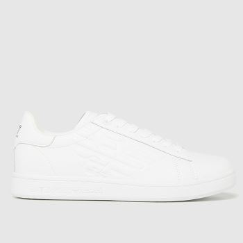 Ea7 Emporio Armani White Classic Cc Leather Womens Trainers