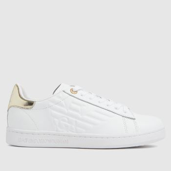 ARMANI White & Gold Classic Cc Leather Womens Trainers