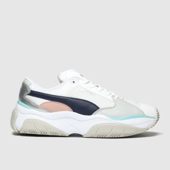 puma white & grey storm.y trainers