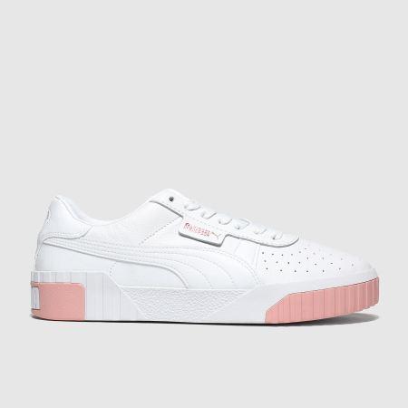 Womens White \u0026 Pink PUMA Cali Trainers