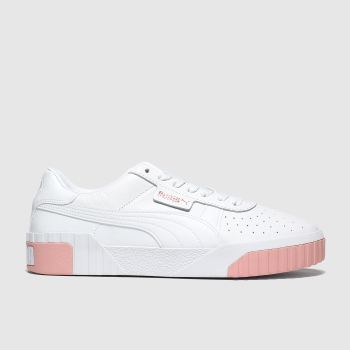 Puma White & Pink Cali Womens Trainers
