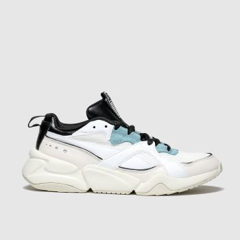 Puma White & Pl Blue Nova 2 Trainers