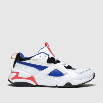 Puma White & Blue Nova 2 Trainers