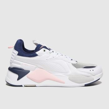 PUMA White & Navy Rs-x Soft C Ase Trainers