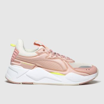 Puma White & Pink Rs-x Soft C Ase Trainers