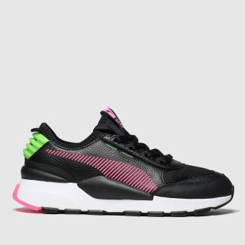puma black & pink rs-0 reinvent trainers